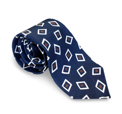 Ties - White Diamonds Print Navy Silk