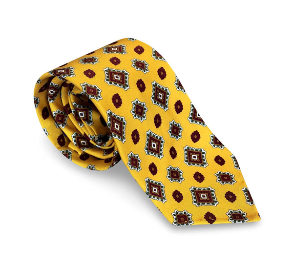 Ties - Red Diamonds Yellow Silk