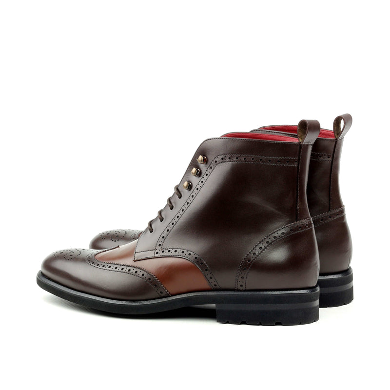 Military Boots - Calf Dark Brown Med Brown-Albert Couture
