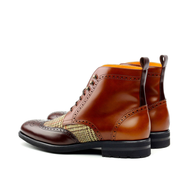 Military Boots - Florantic Wool and Tweed Brown-Albert Couture
