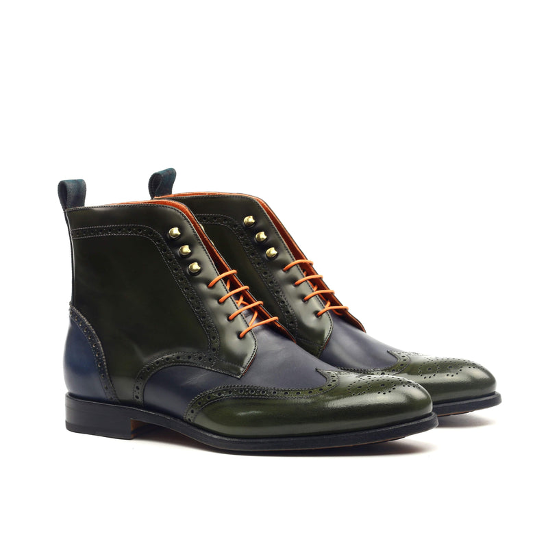 Military Boots - Polished Calf Green Box Calf Navy-Albert Couture