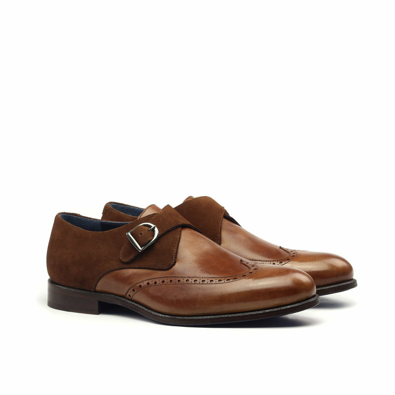 Single Monk - Painted Calf and Lux Suede Med Brown-Albert Couture