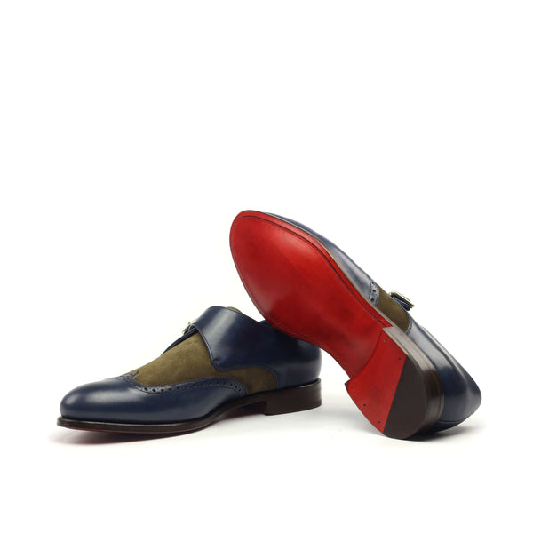 Single Monk - painted Calf Navy Lux Suede Khaki-Albert Couture