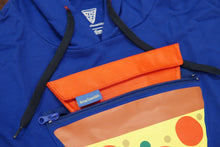 Load image into Gallery viewer, Close up of Pizza Pocket Hoodie triangular pocket, 8-inch zipper, and pouch.