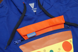 Close up of Pizza Pocket Hoodie triangular pocket, 8-inch zipper, and pouch.