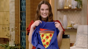 Keira Knightley excitedly receiving the Pizza Pocket Hoodie on ABC Show Kelly and Ryan