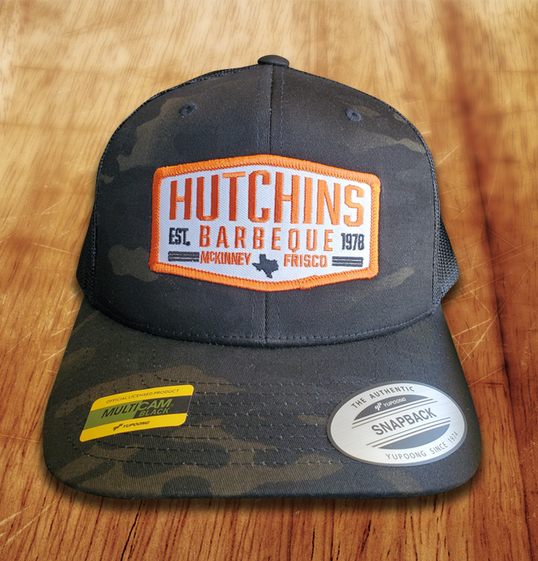 Camo w/ Orange Hex Hat - Hutchins BBQ