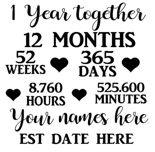 1 year anniversary quote frame vinyl - personalised