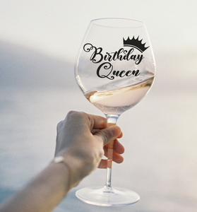 Birthday queen gin/wine glass vinyl