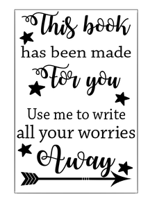 Write your worries away, worry journal notebook vinyl
