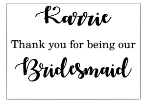 Bridal party personalised thank you box vinyl