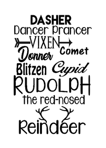 Reindeer names Christmas wine bottle vinyl