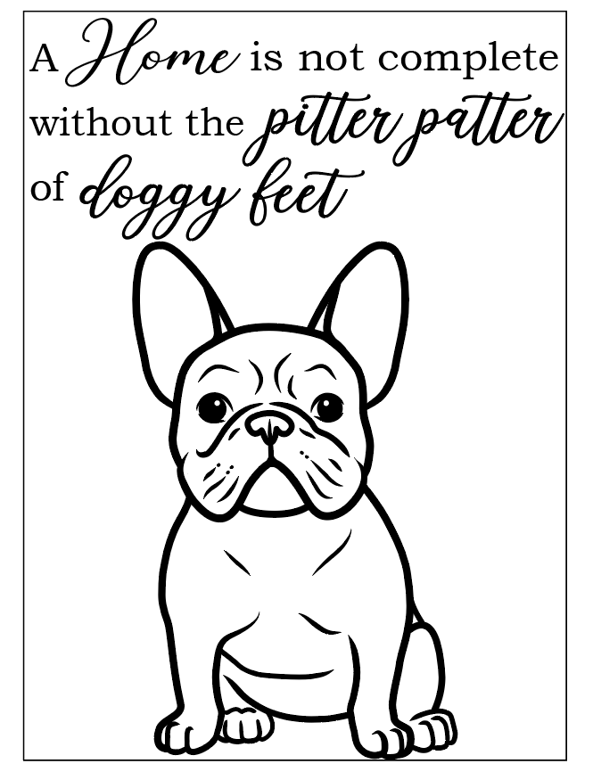 Frenchie quote frame vinyl