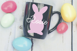 Personalised bunny silhouette and name mug vinyl