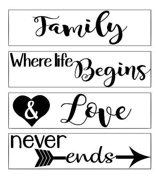 Family love quote plaque vinyl