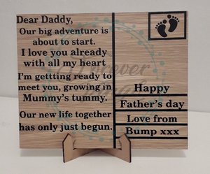 Dear Daddy postcard design father's day plaque quote
