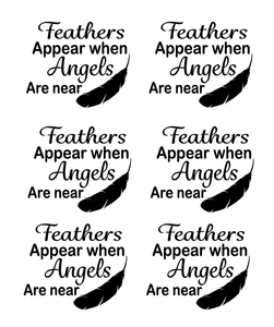 Feather appear quote set of 6 bauble vinyls