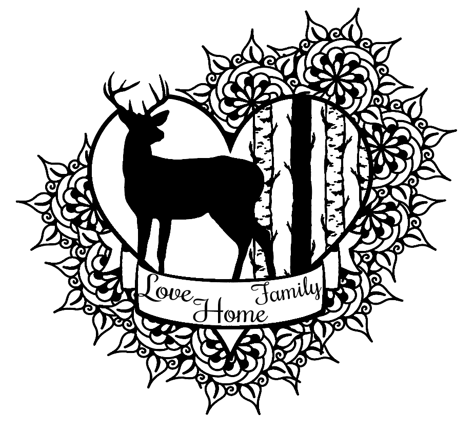 Love home family Stag heart design plaque vinyl