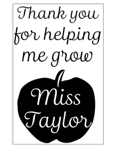 Teacher thank you notebook vinyl - can be personalised