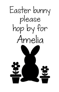 Easter bunny hop by for personalised wine bottle/plaque vinyl
