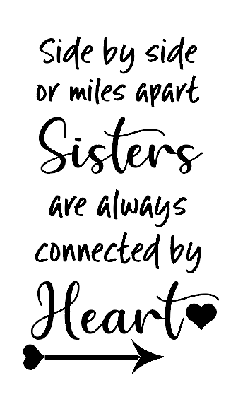 Sisters connected by heart wine bottle vinyl