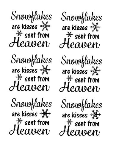 Snowflakes are kisses quote bauble vinyl  set of 6