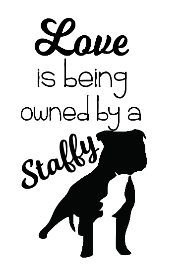 Love is being owned by a staffy wine bottle vinyl