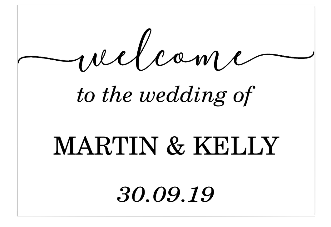 Welcome to the wedding of, vinyl sign