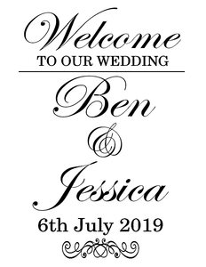 Welcome to our wedding, vinyl sign
