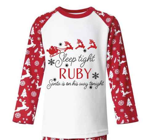 HTV Personalised Sleep tight Santa quote PJ design