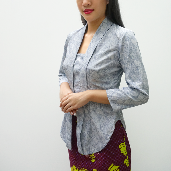 Pre-Order: Kebaya Top in Porcelain Fronds