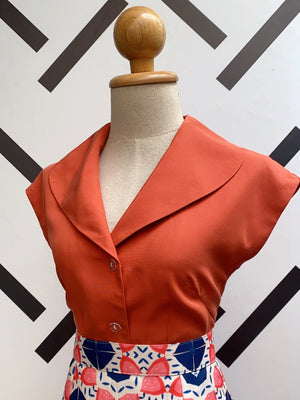 Rockabilly Vintage Shirt in Terracotta