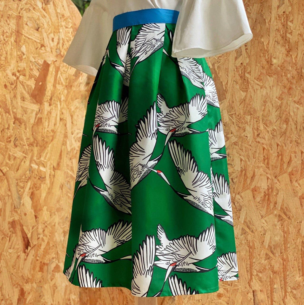 Pre-Order: The Tanchozuru in Rockabilly Vintage Skirt (Forest Green)