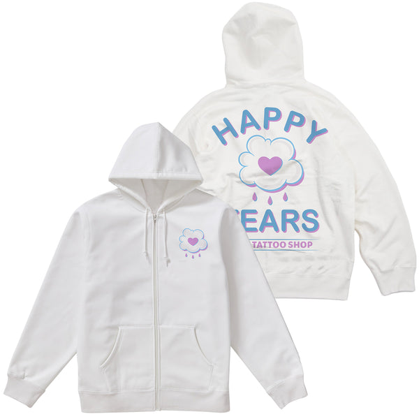 'Happy Tears' Zip-Up Hoodie (White)