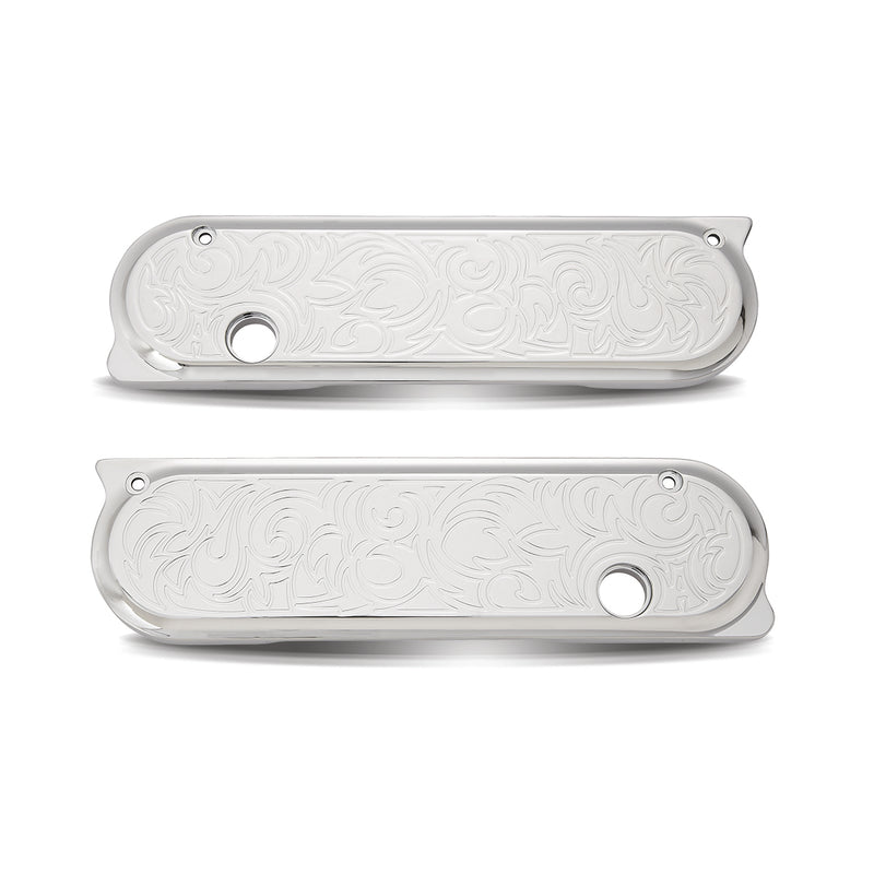 Engraved Saddlebag Latch Covers, Chrome 93-13 FLT