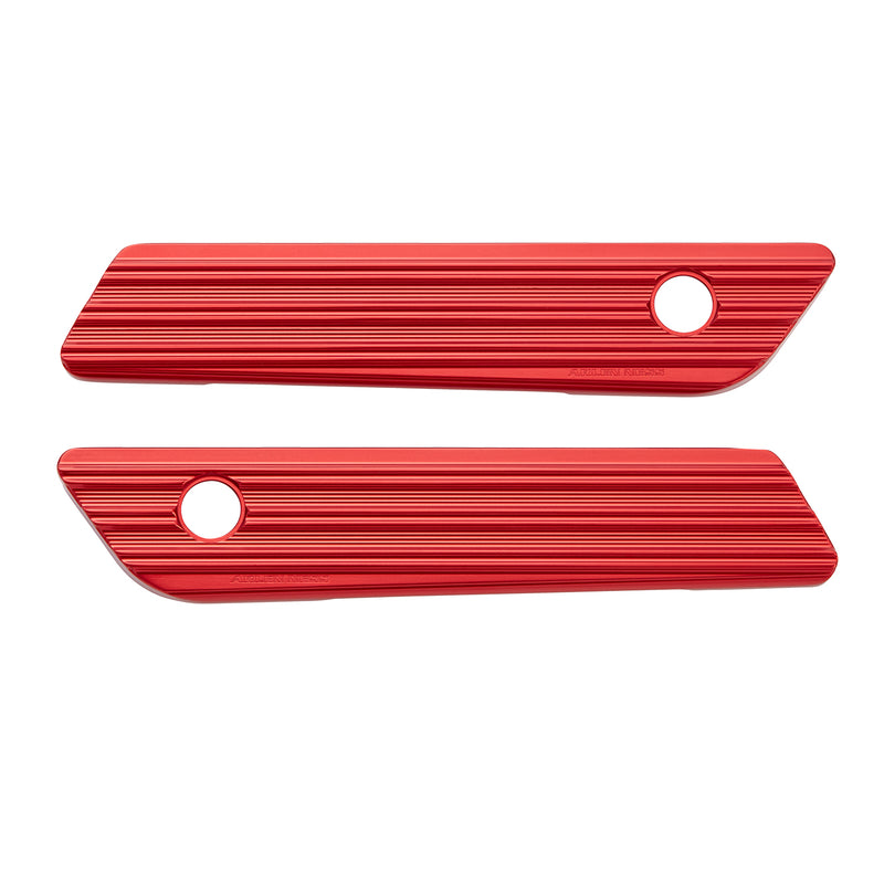 10-Gauge Saddlebag Latch Covers, Red 14-up FLT