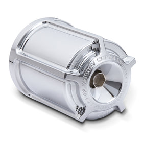 Beveled Re-Useable Billet Oil Filter, Chrome