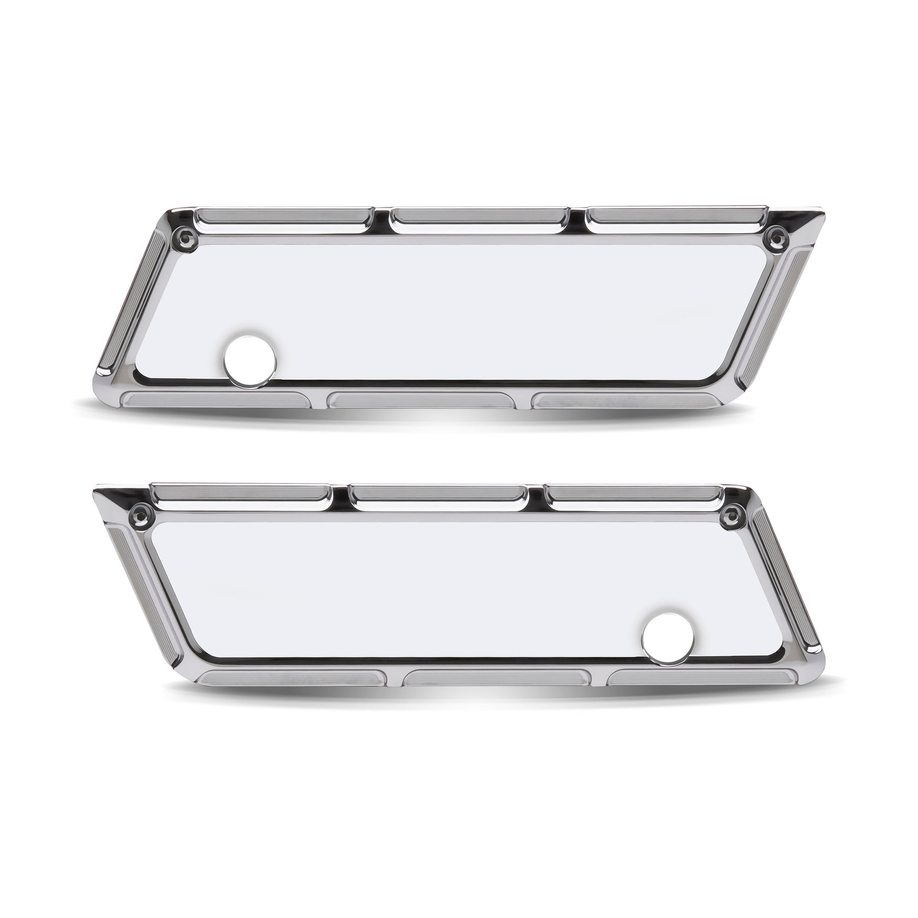 Beveled Saddlebag Latch Covers, Chrome 93-13 FLT