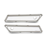 Beveled Saddlebag Latch Covers, Chrome 14-up FLT
