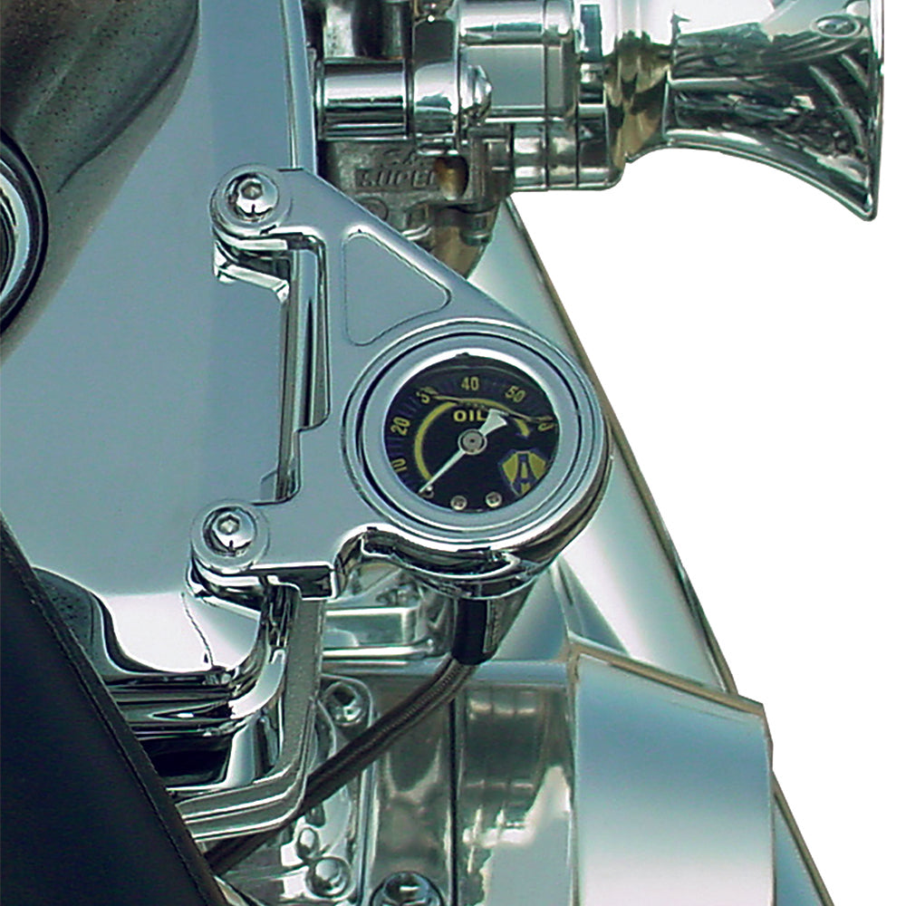Radius Oil Pressure Gauge, Chrome