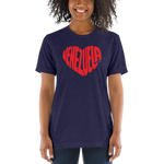 LOVE LETTERS | Unisex Tri-blend Tee - Navy Blue, Black & White Fleck