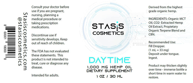 DAYTIME - 1,000 mg CO2-Extracted Hemp Oil Extract Supplement