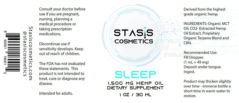 SLEEP Hemp Oil Supplement - 1,500 mg