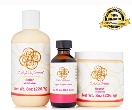 CurlyCoilyTresses Enrich+Pumpkin+Nourish fragrance free hair care