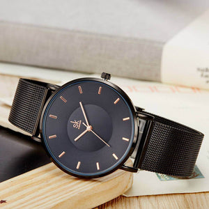 EERIE BLACK MESH STRAP MINIMALIST WATCH
