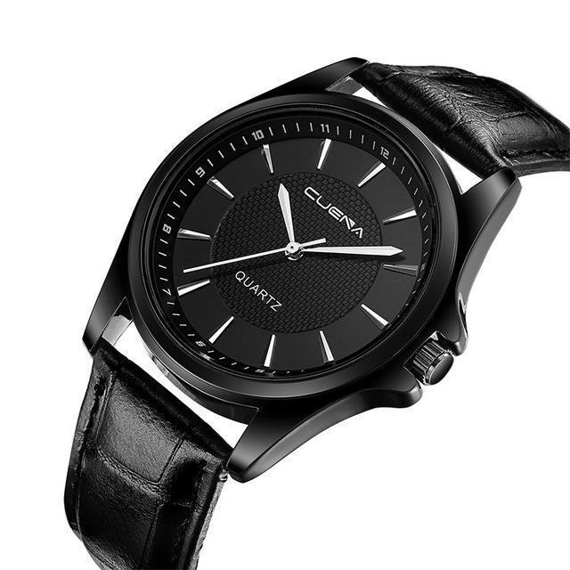 RICH BLACK CASUAL LEATHER STRAP WATCH