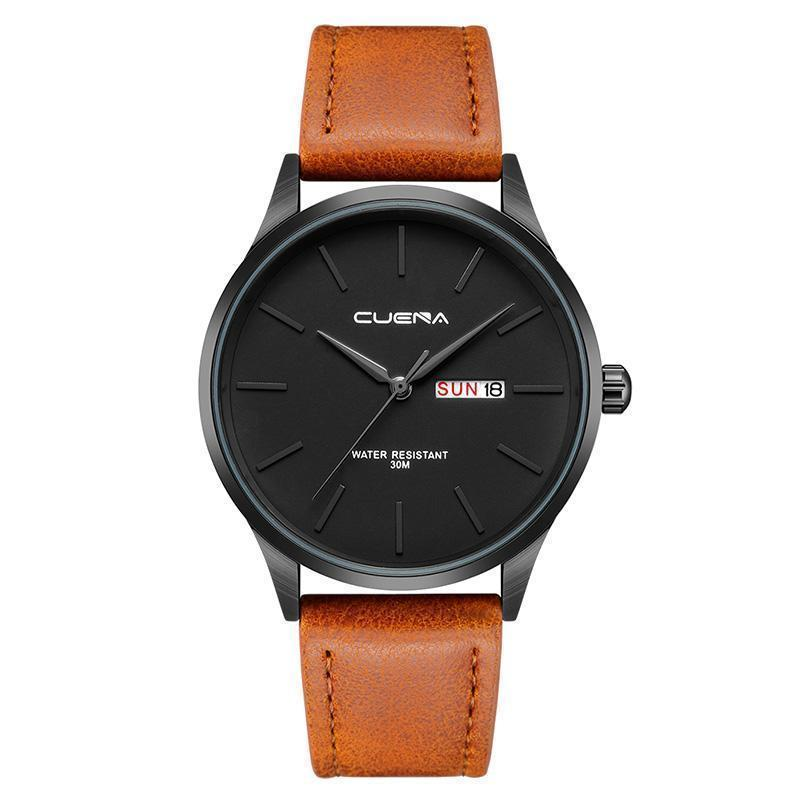 FULVOUS BROWN LEATHER STRAP WATCH
