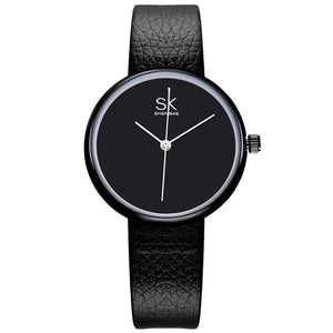 MINIMAL BLACK LEATHER STRAP WATCH