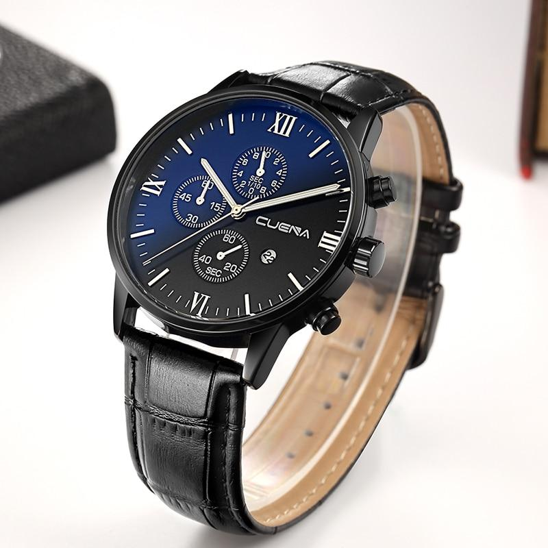 DAZZLED BLACK CUENA ELEGANT LEATHER STRAP WATCH