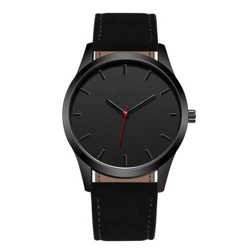 "CARBON BLACK LEATHER STRAP ""Millennial'' SERIES WATCH"